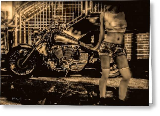 Her Bike Greeting Card by Bob Orsillo