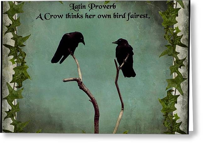 Two Crows Greeting Cards - Her Bird Greeting Card by Gothicolors Donna Snyder