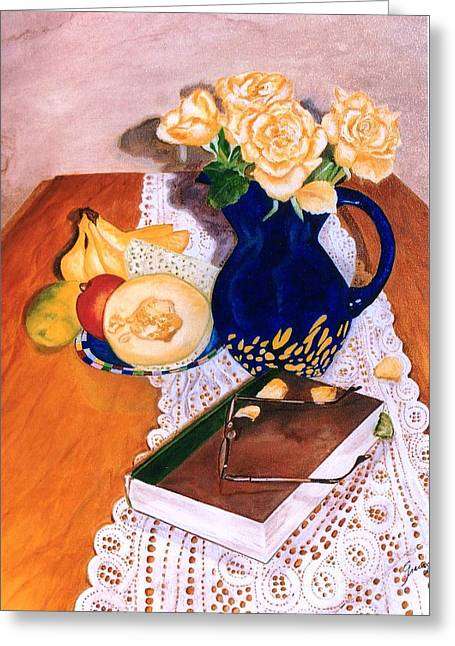 Mango Greeting Cards - Her book Greeting Card by Graciela Castro