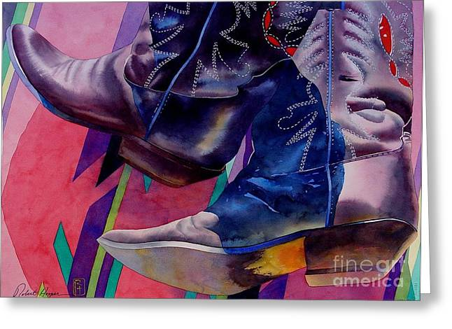 Arizona Cowboy Greeting Cards - Her Boots Greeting Card by Robert Hooper