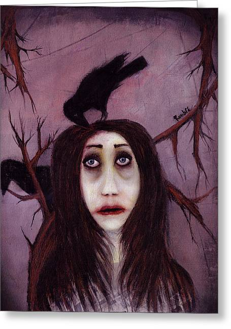 Pop Surrealism Greeting Cards - Her eyes...so innocent Greeting Card by Rouble Rust