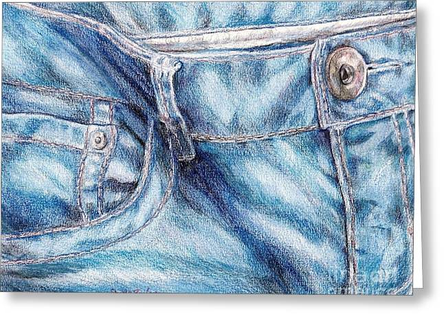 Outfit Drawings Greeting Cards - Her Favorite Pair of Jeans Greeting Card by Shana Rowe