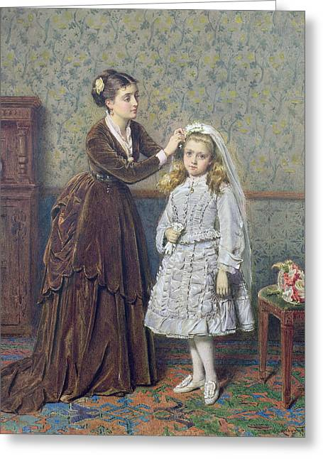 Her First Communion Greeting Card by George Goodwin Kilburne