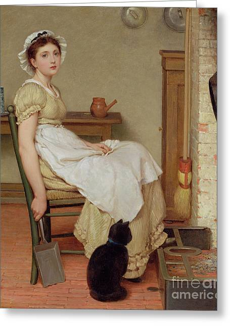 Broom Greeting Cards - Her First Place Greeting Card by George Dunlop Leslie
