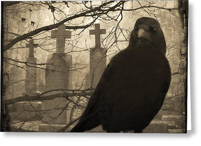 Gothic Cross Greeting Cards - Her Graveyard Greeting Card by Gothicolors Donna Snyder