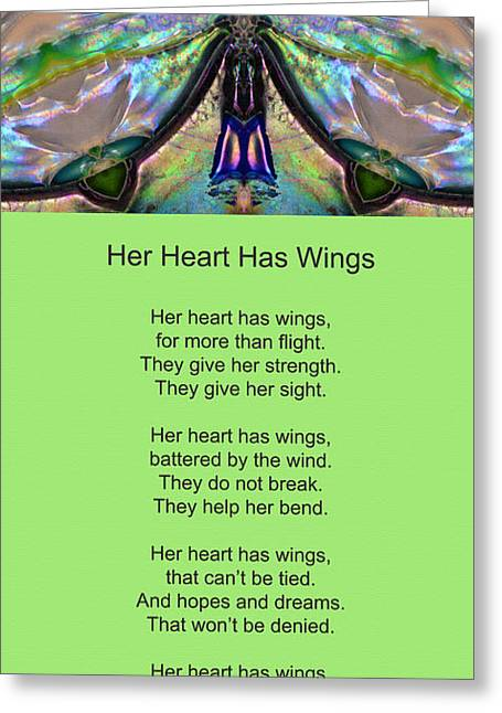 Strength Mixed Media Greeting Cards - Her Heart Has Wings With Poem by Sharon Cummings Greeting Card by Sharon Cummings