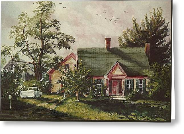 Old Maine Barns Paintings Greeting Cards - Her House Greeting Card by Joy Nichols