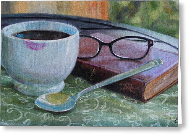 Alcott Greeting Cards - Her Morning Coffee Greeting Card by Emily Olson