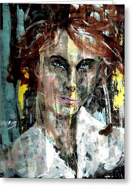 Mental Paintings Greeting Cards - Her own mind Greeting Card by P J Lewis