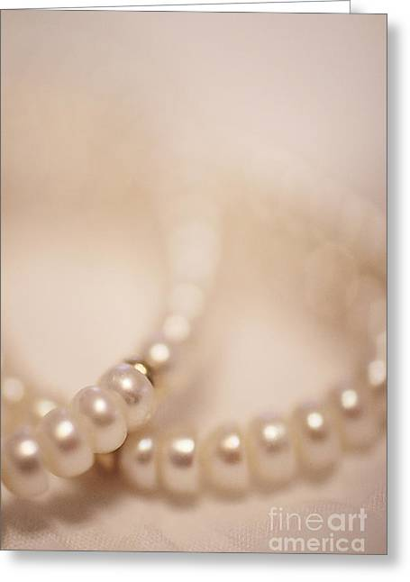 Gold Jewelry Greeting Cards - Her Pearls Greeting Card by Trish Mistric