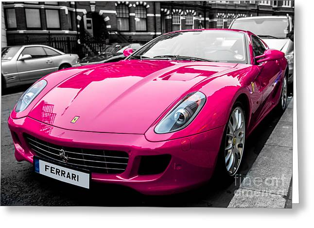 Her Pink Ferrari Greeting Card by Matt Malloy