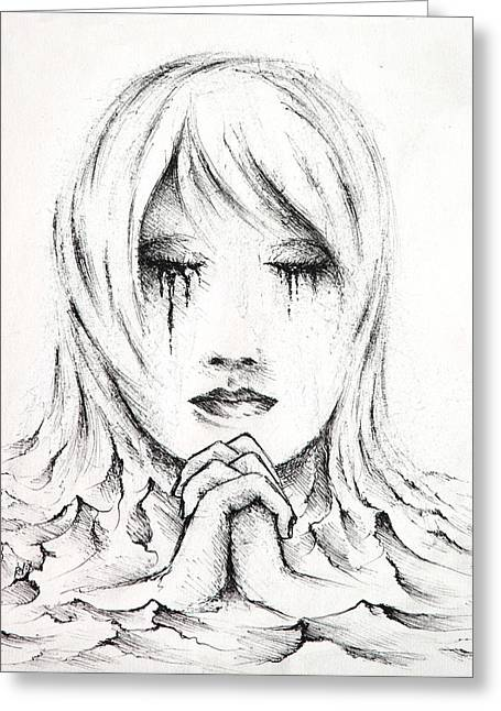 Depression Drawings Greeting Cards - Her Prayers Greeting Card by Rachel Christine Nowicki