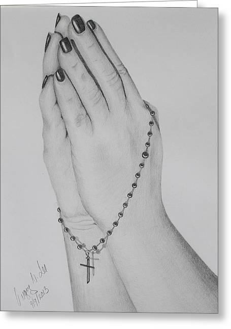 Rosary Drawings Greeting Cards - Her Praying Hands Greeting Card by Gregory Lee