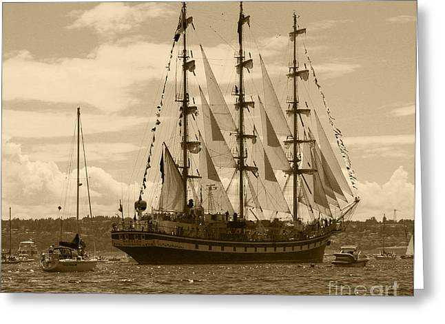 Wooden Ship Greeting Cards - Her Russian Backside Pallada Greeting Card by Kym Backland