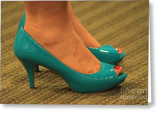Open Toe Shoes Greeting Cards - Her something Blue Greeting Card by Jennifer Doll