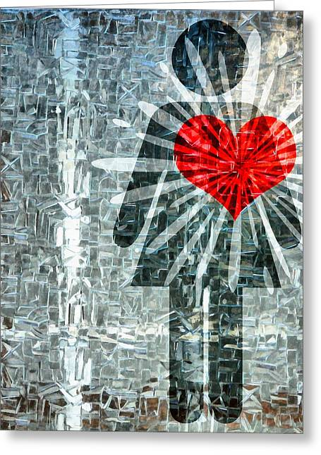 Sharing Mixed Media Greeting Cards - Her Strength Of Heart Greeting Card by Angelina Vick