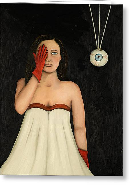 Ball Gown Paintings Greeting Cards - Her Wandering Eye 2 Greeting Card by Leah Saulnier The Painting Maniac