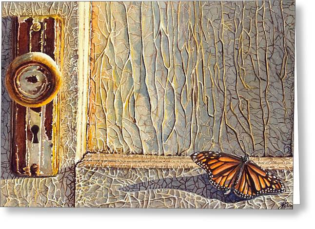 Knob Greeting Cards - Her Wings Were Kissed by the Sun Greeting Card by Greg Halom