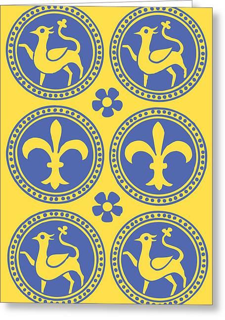 Harts Drawings Greeting Cards - Heraldic Hart and Fleur-de-Lis Blue on Yellow Greeting Card by Ticky Kennedy LLC