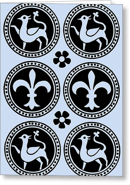 Harts Drawings Greeting Cards - Heraldic Hart and Fleur-de-Lis Blue Greeting Card by Ticky Kennedy LLC