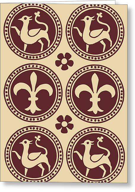 Harts Drawings Greeting Cards - Heraldic Hart and Fleur-de-lis Brown Greeting Card by Ticky Kennedy LLC