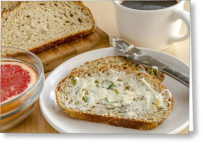 Loaf Of Bread Greeting Cards - Herb Butter and Whole Grain Bread Greeting Card by Teri Virbickis