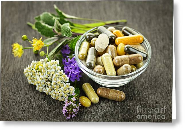 Tablets Greeting Cards - Herbal medicine and herbs Greeting Card by Elena Elisseeva