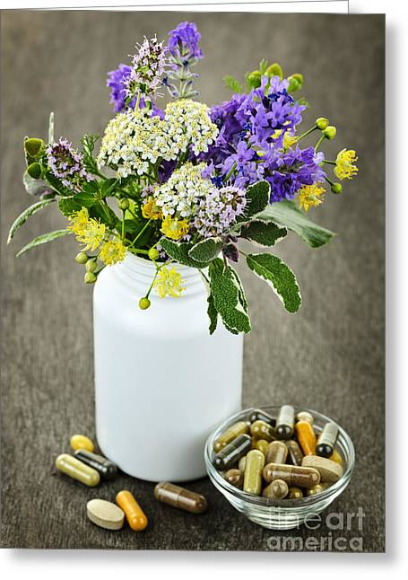Pill Greeting Cards - Herbal medicine and plants Greeting Card by Elena Elisseeva