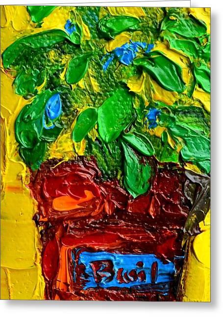 Ingredients Paintings Greeting Cards - Herbal Plant Basil Greeting Card by Patricia Awapara