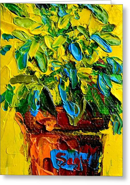 Herbal Plant Sage Tea Greeting Card by Patricia Awapara