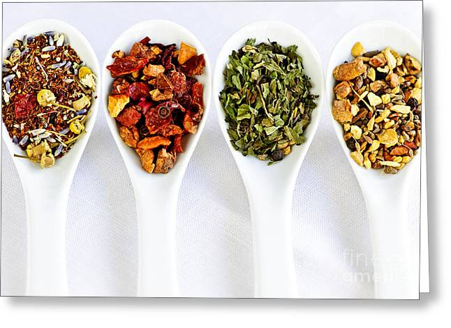 Medicinal Greeting Cards - Herbal teas Greeting Card by Elena Elisseeva
