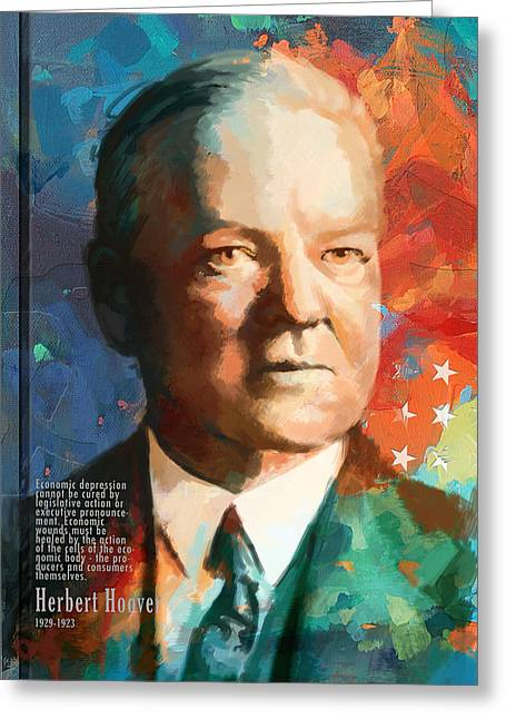Henry Greeting Cards - Herbert Hoover Greeting Card by Corporate Art Task Force