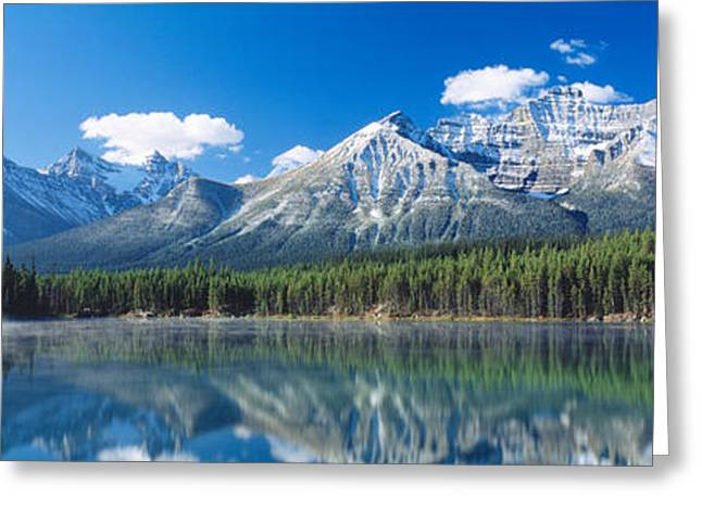 Misty Pine Photography Greeting Cards - Herbert Lake Banff National Park Canada Greeting Card by Panoramic Images