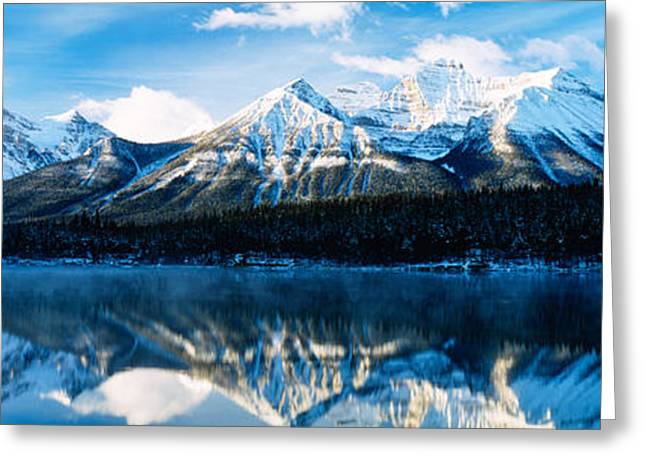 Snow Capped Greeting Cards - Herbert Lake, Banff National Park Greeting Card by Panoramic Images