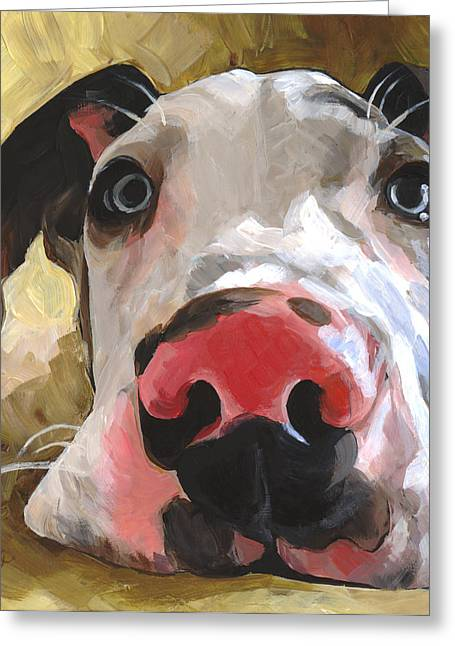 Puppies Paintings Greeting Cards - Herbie Greeting Card by Annie Salness