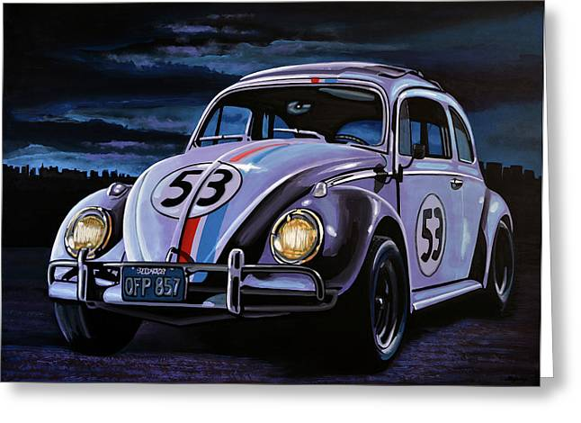 Auto Racing Greeting Cards - Herbie The Love Bug Greeting Card by Paul  Meijering