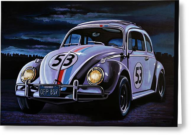 Character Portraits Paintings Greeting Cards - Herbie The Love Bug Greeting Card by Paul Meijering