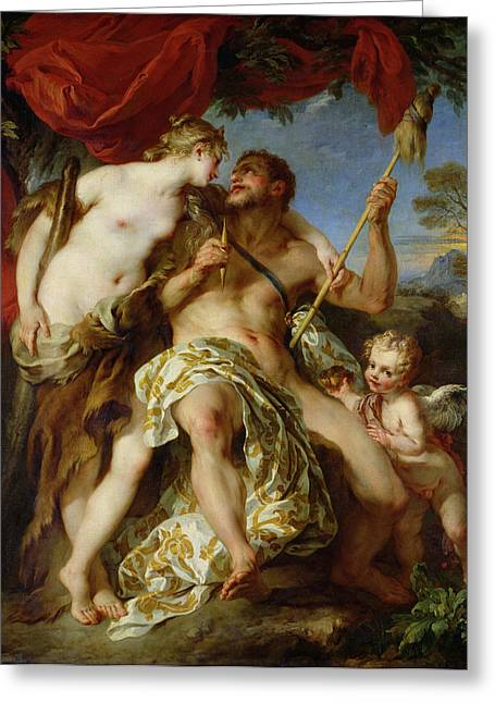 Spindle Greeting Cards - Hercules And Omphale, 1724 Oil On Canvas Greeting Card by Francois Lemoyne