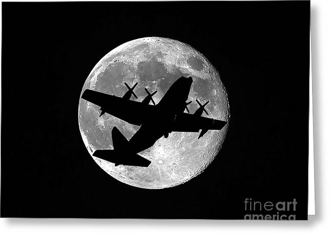 Military Airplanes Greeting Cards - Hercules Moon Greeting Card by Al Powell Photography USA