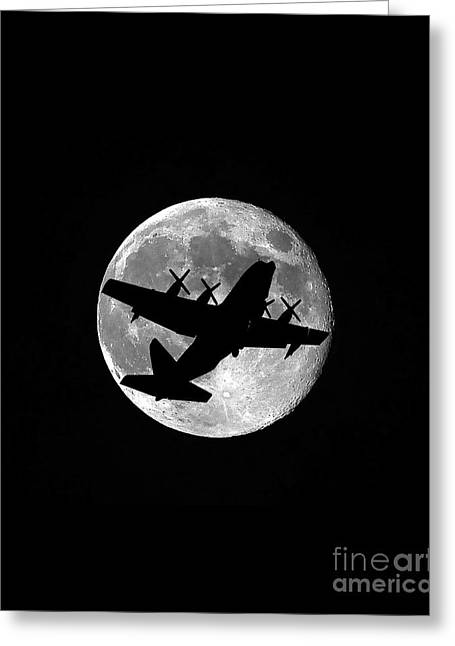 Lockheed Aircraft Greeting Cards - Hercules Moon Vertical Greeting Card by Al Powell Photography USA