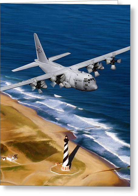 Military Airplanes Greeting Cards - Hercules Over Cape Hatteras Greeting Card by Dale Jackson