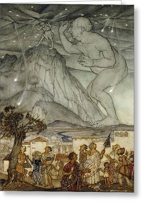 Nocturnal Paintings Greeting Cards - Hercules Supporting the Sky instead of Atlas Greeting Card by Arthur Rackham