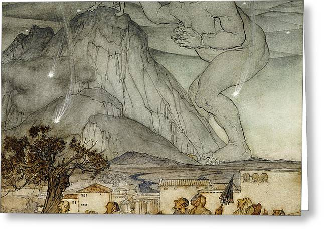 Hercules Supporting the Sky instead of Atlas Greeting Card by Arthur Rackham