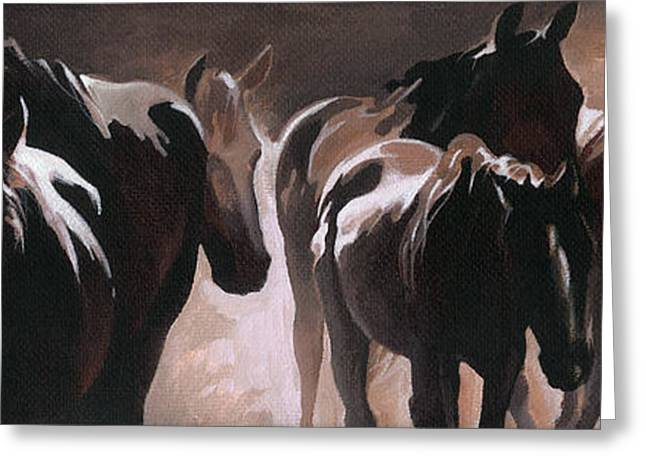 Monotone Paintings Greeting Cards - Herd of Horses Greeting Card by Natasha Denger