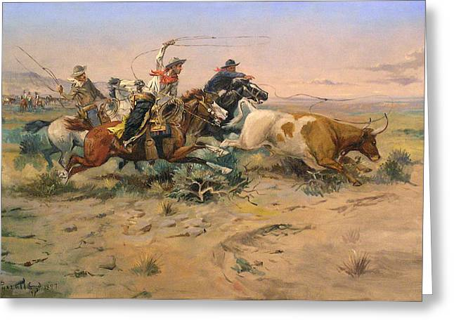 Herd Quit Greeting Card by Charles Russell
