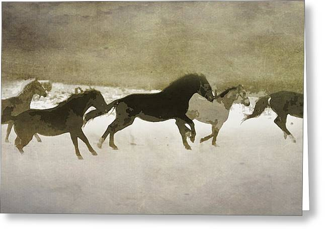 Herd Spirit In Sepia Greeting Card by Renee Forth-Fukumoto