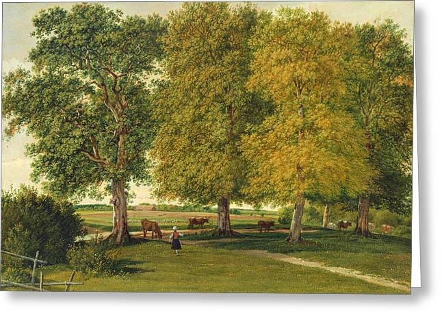 Herder Greeting Cards - Herder with Cattle beneath Autumnal Trees Greeting Card by Wilhelm Alexander Kobell