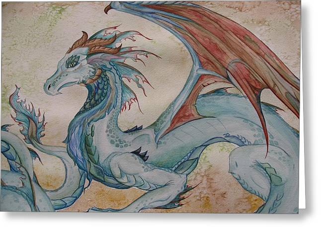 Watercolor Fairytale Greeting Cards - Here Be A Dragon Greeting Card by Nicole Caldwell