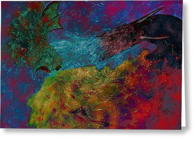 Breathing Mixed Media Greeting Cards - Here Be Dragons 2 Greeting Card by Dorothy Berry-Lound