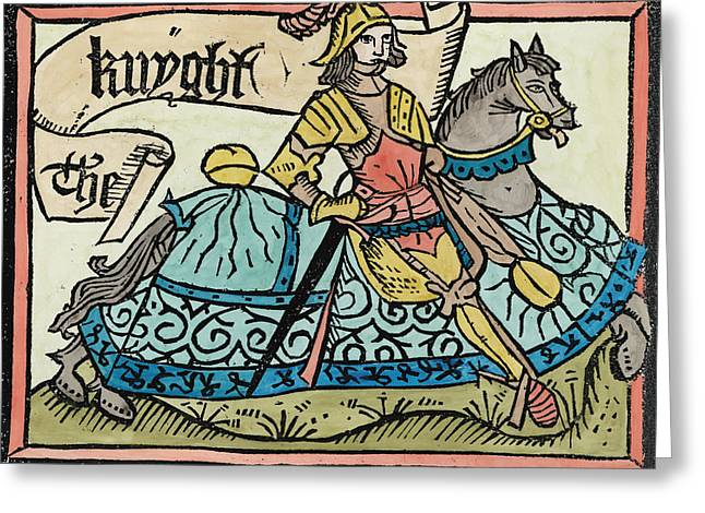 Knighting Photographs Greeting Cards - Here Begynneth The Knightes Tale, Illustration From The Canterbury Tales By Geoffrey Chaucer Greeting Card by English School